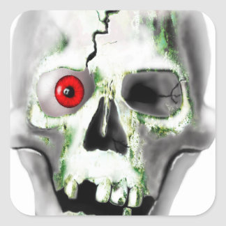 green mould on skull square sticker