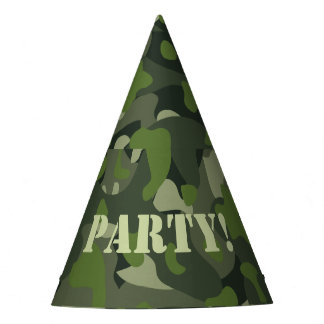 Green mountain disruptive camouflage party hat