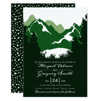 Green mountains and conifer trees wedding card