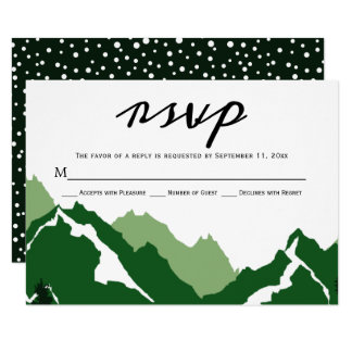 Green mountains wedding RSVP response card