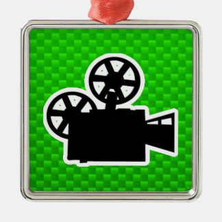 Green Movie Camera Silver-Colored Square Decoration
