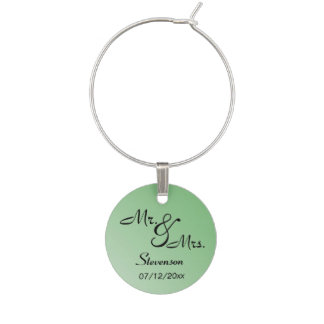 Green Mr. and Mrs. Memento Wine Charms