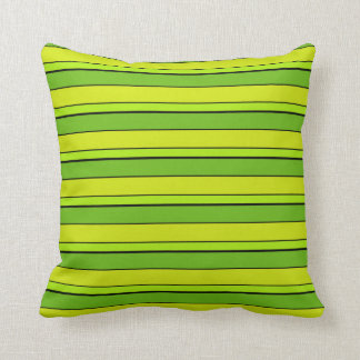 Green Multi Tone Striped Throw Pillow