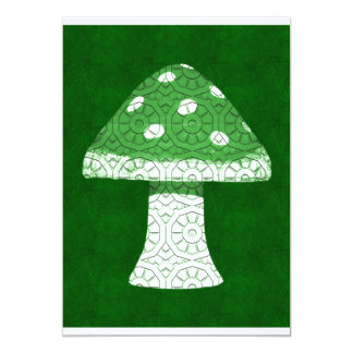 Green Mushroom 13 Cm X 18 Cm Invitation Card