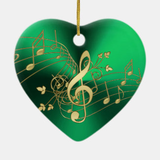 Green Music Notes and Clef Christmas Ornament