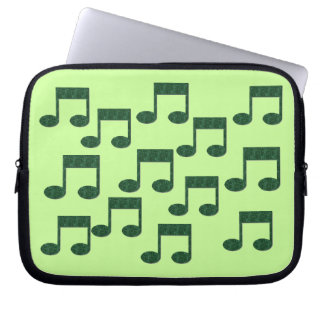 Green Music Notes Laptop Sleeve