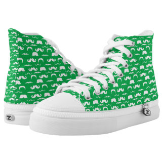 Green Mustache Tennis Shoes Printed Shoes