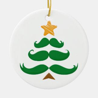 Green Mustache Tree Ceramic Ornament