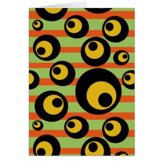 Green Mustard Yellow Orange Stripes Geometric Card