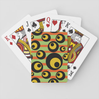 Green Mustard Yellow Orange Stripes Geometric Playing Cards