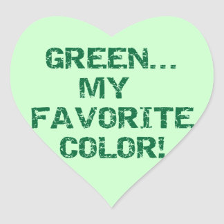 Green My Favorite Color T-shirts and Gifts Heart Sticker