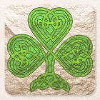 Green 'n Gold Celtic Shamrock Square Paper Coaster