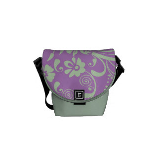 Green-n-Purple Floral Swirl Courier Bags