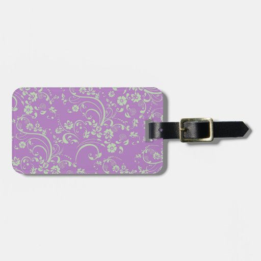 Green-n-Purple Floral Swirl Tag For Luggage