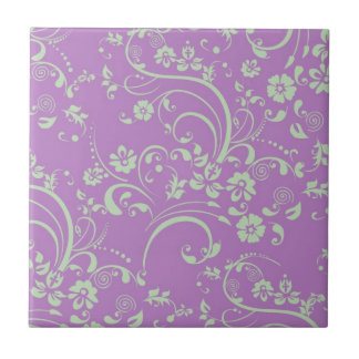 Green-n-Purple Floral Swirl Small Square Tile
