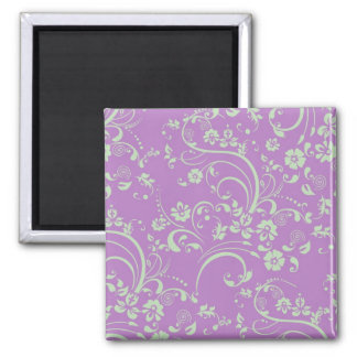 Green-n-Purple Floral Swirl Square Magnet