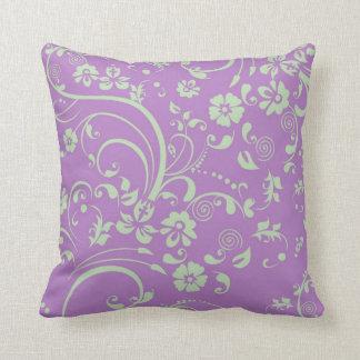 Green-n-Purple Floral Swirl Throw Cushions