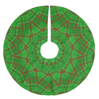 Green n Red Christmas Plaid Brushed Polyester Tree Skirt