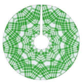 Green n White Christmas Plaid Brushed Polyester Tree Skirt