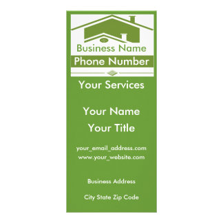 Green n White Double Roof Elevation Rack Cards