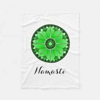 Green NAMASTE Flower Spiritual Lotus Mandala Fleece Blanket