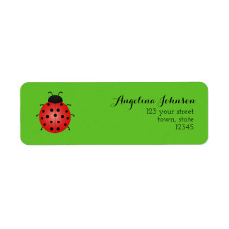 Green Nature Beautiful Ladybird Ecology Bug Bright Return Address Label