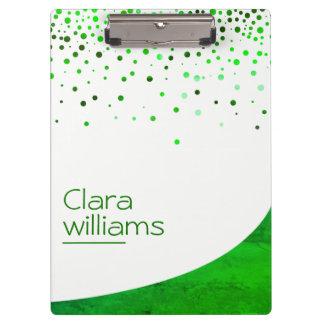 Green Nature Glitter Faux Sparkle Confetti Modern Clipboard
