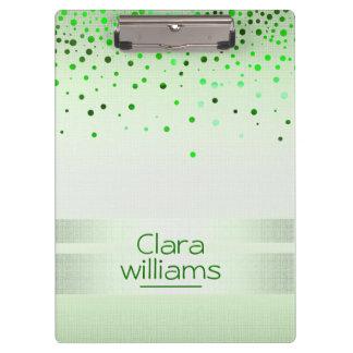Green Nature Glitter Linen Sparkle Confetti Modern Clipboard