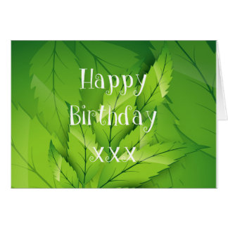 Green Nature Leaves Happy Birthday Greeting Card
