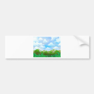 Green Nature Painting Bumper Stickers