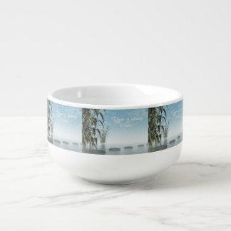 Green nature pebbles - 3D render Soup Mug