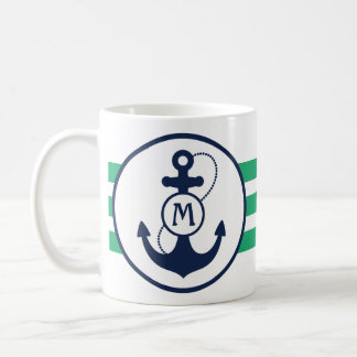 Green Nautical Anchor Coffee Mug