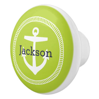 Green Nautical Anchor Monogram Ceramic Knob