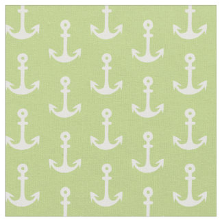 Green Nautical Fabric, Anchor Fabric, Fun Fabric