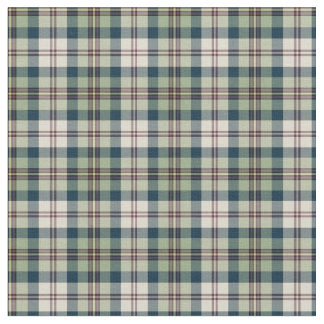 Green, Navy Blue and Cream Plaid Fabric