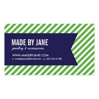 Green Navy Blue Modern Stripes Ribbon Business Card Template