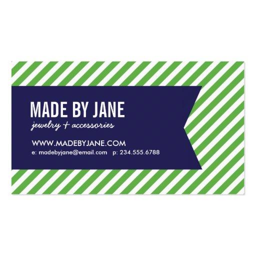 Green & Navy Blue Modern Stripes & Ribbon Business Card Template