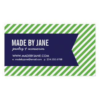 Green & Navy Blue Modern Stripes & Ribbon Pack Of Standard Business Cards