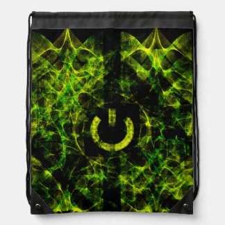 Green Neon Fire Drawstring Bag