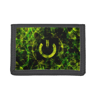 Green Neon Fire Trifold Wallets