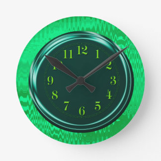 Green Neon Metallic Abstract Clock