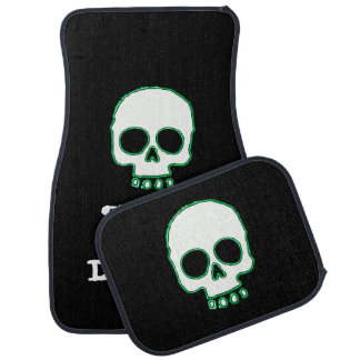 Green Neon Skull Add Message Car Mats