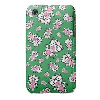 Green nerd cow pattern iPhone 3 Case-Mate case