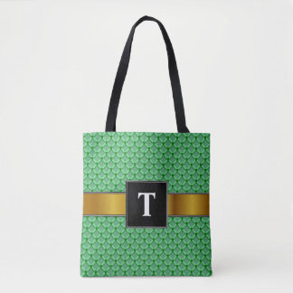 Green Net, Mesh, or Chainmail Like Pattern Tote Bag
