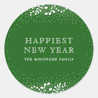 Green New Year Classic Round Sticker
