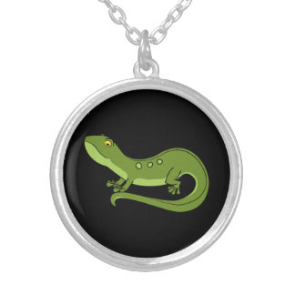 Green Newt with Spots Round Pendant Necklace