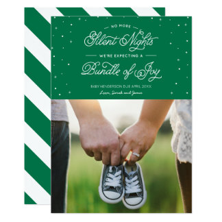 "Green ""No More Silent Nights"" Holiday Photo Card 13 Cm X 18 Cm Invitation Card"