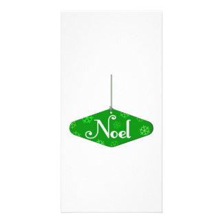 Green Noel Christmas Ornament Photo Greeting Card