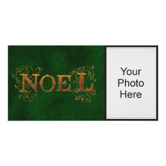 Green Noel Holiday Photo Photo Cards