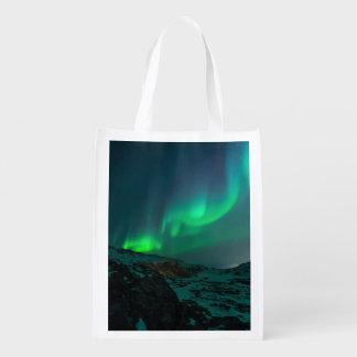 Green Northern Lights Reusable Grocery Bag
